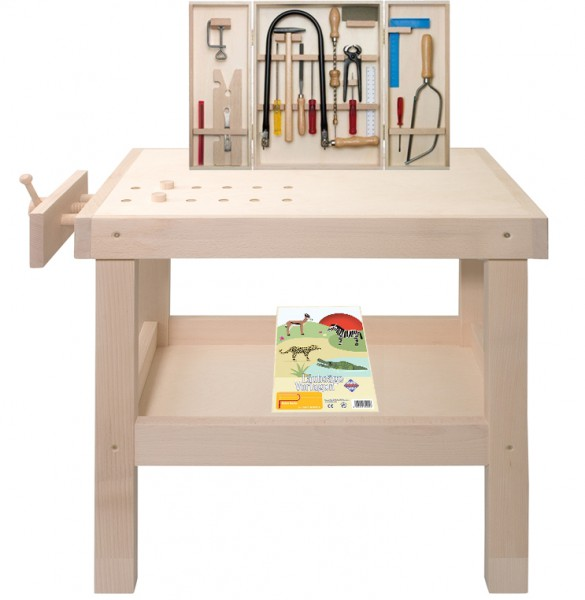 Kinderwerkbank-Set inkl. Laubsägeschrank mit Werkzeugen und Vorlagen