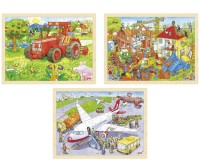 Steckpuzzle Traktor, Baustelle und Flughafen, 3-tlg. Set