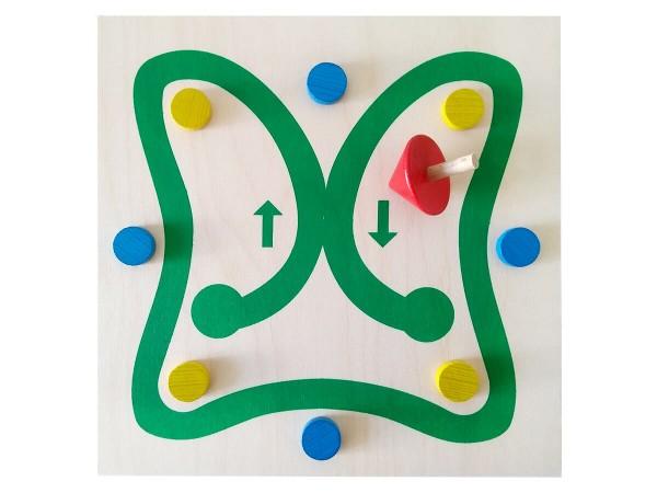 Geschicklichkeitsspiel-mit-Holzkreisel
