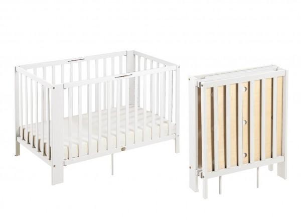 Klappbares Baby-und Kleinkindbett aus Kiefernholz