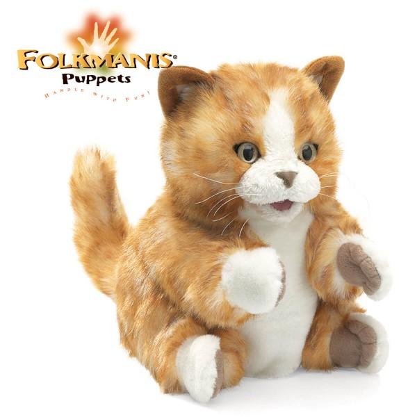 Folkmanis-Handpuppe-Kätzchen-orange-braun